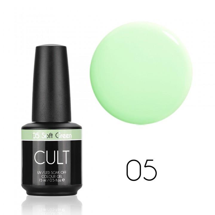 Гель лак для ногтей мятный Cult Soft Green №05
