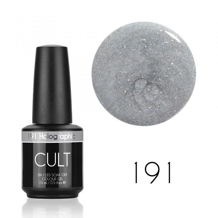 Гель лак для ногтей с золотыми блёстками CULT №191 Holographic 15 мл