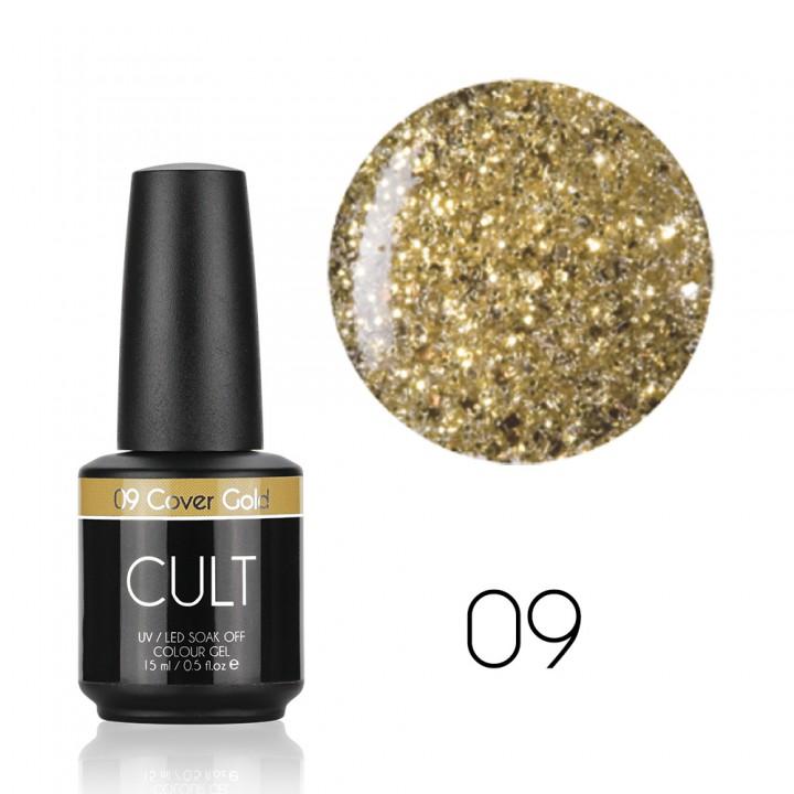 Гель лак для ногтей с золотыми блёстками CULT Golden Cover №09