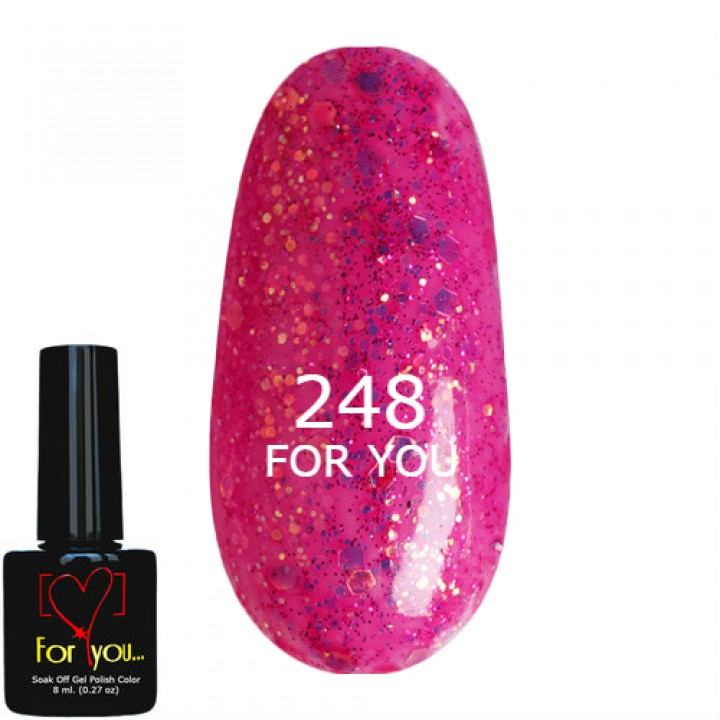 Гель лак Розовый с шиммером №248