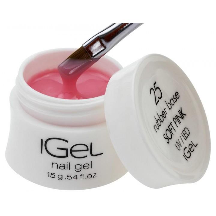 Камуфлирующая каучуковая база для ногтей iGel Soft Pink №25
