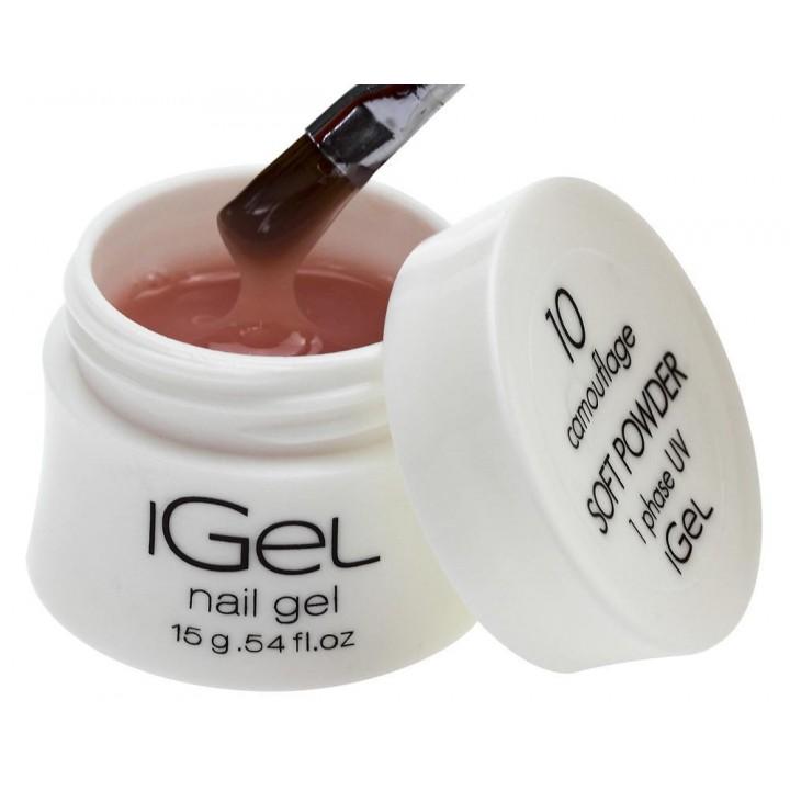 Гель для наращивания ногтей нежно пудровый iGel Soft Powder №10