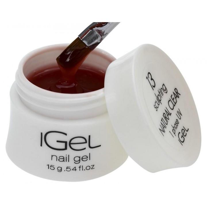 Гель для наращивания ногтей прозрачно натуральный iGel Natural Clear №13