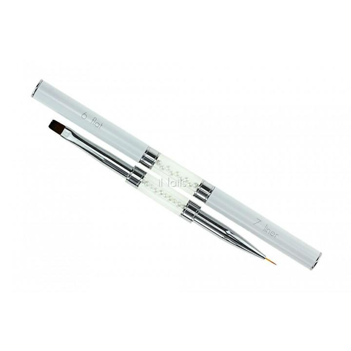 Кисточка для росписи и дизайна ногтей Flat #6 / Liner #7