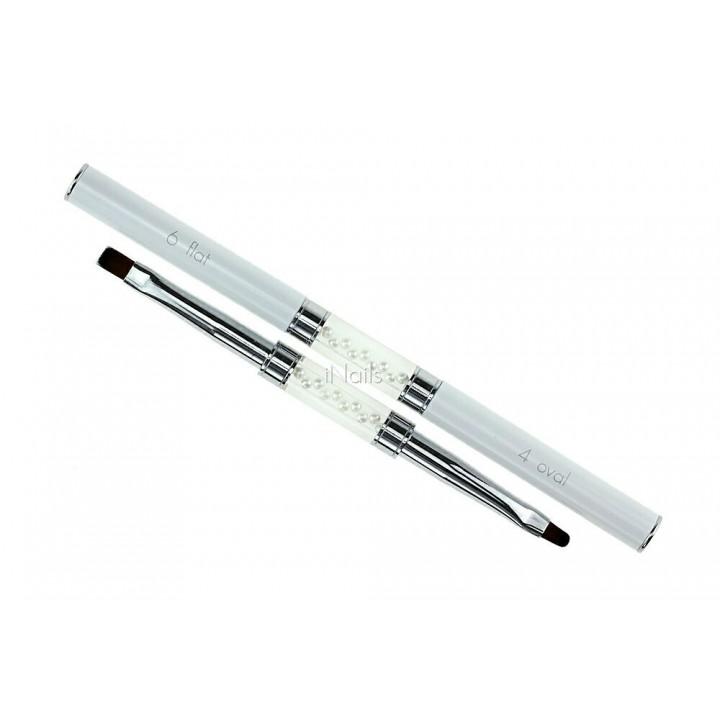 Кисточка для росписи и дизайна ногтей Flat #6 / Oval #4