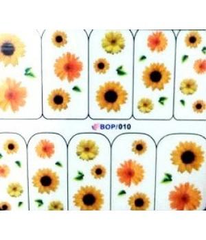Наклейки на ногти Цветы, желтые, оранжевые подсолнухи