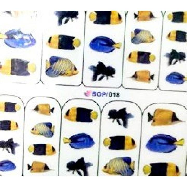 Наклейки для ногтей Синие морские рыбки