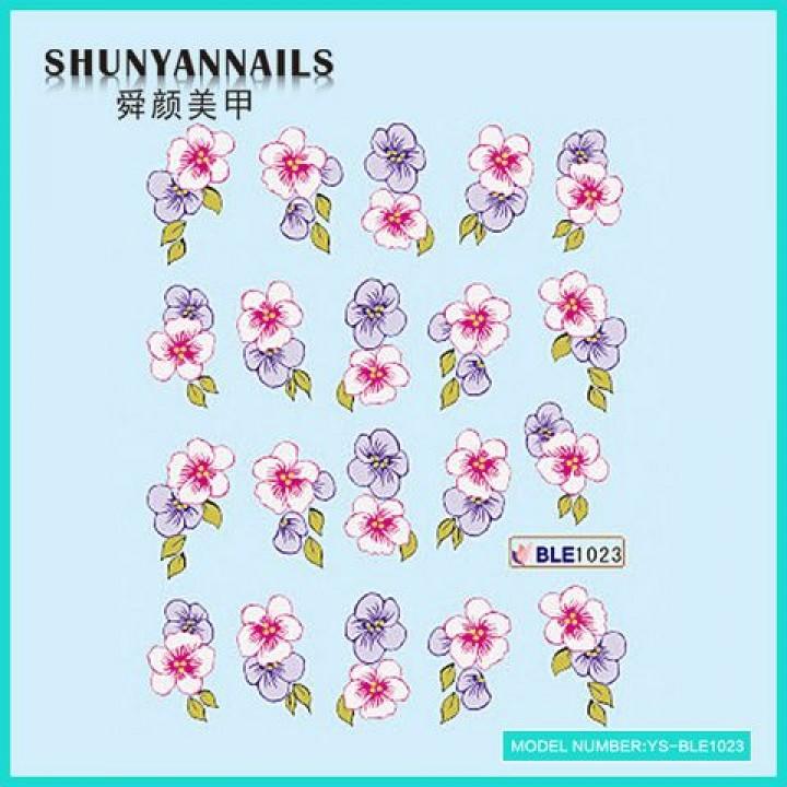 Наклейки для ногтей Цветы фиолетовые