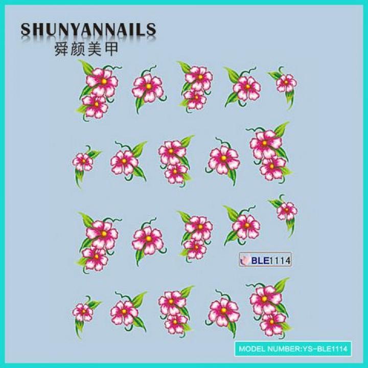 Наклейки для ногтей Цветы розовые