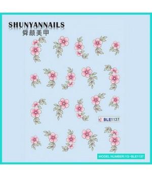 Наклейки на ногти Цветы нежно розовые