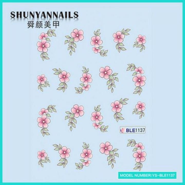 Наклейки для ногтей Цветы нежно розовые
