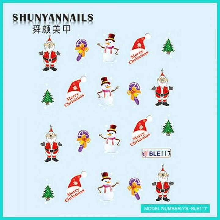 Наклейки для ногтей Новогодние, Дед Мороз, Санта Клаус, елка