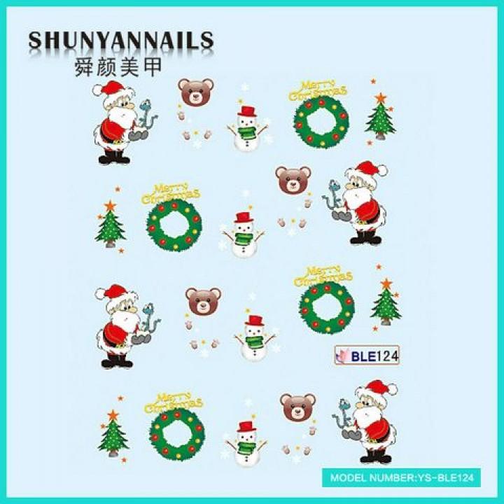 Наклейки для ногтей Новогодние, Санта Клаус, Дед Мороз, елка, мишка, снеговик