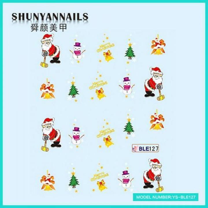 Наклейки для ногтей Новогодние, Санта Клаус, Дед Мороз, колокольчики, елка, снеговик