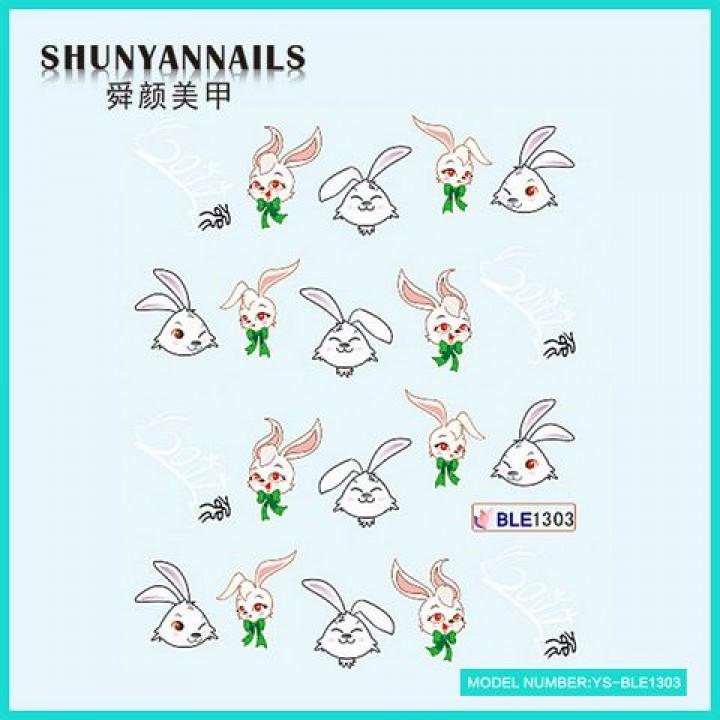 Наклейки для ногтей Зайчик, кролик с бантиком