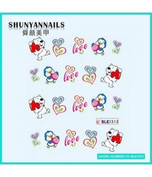 Наклейки на ногти День влюбленных, мишка, птичка, сердечки
