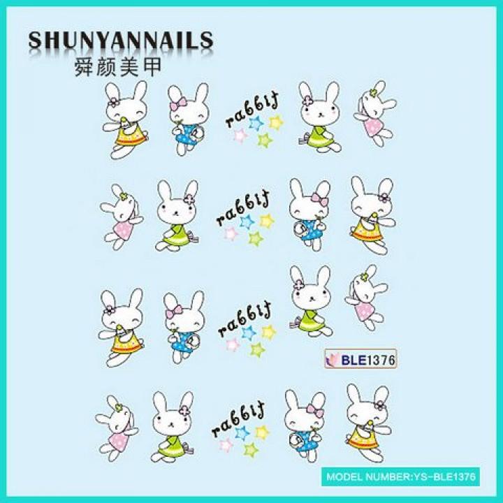 Наклейки для ногтей Животные, зайчата