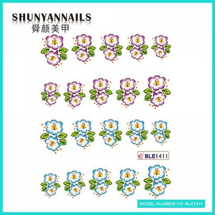Наклейки для ногтей Цветочки сиреневые, голубые
