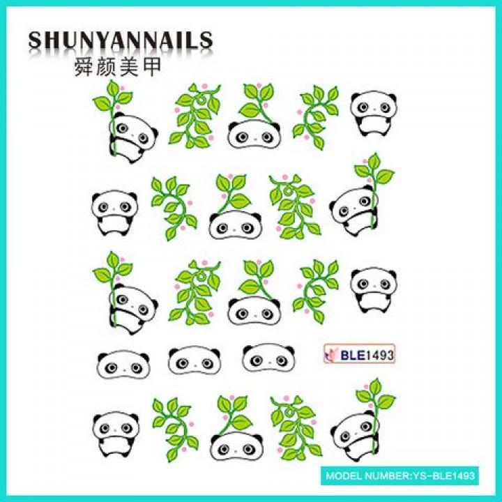 Наклейки для ногтей Панда, листья
