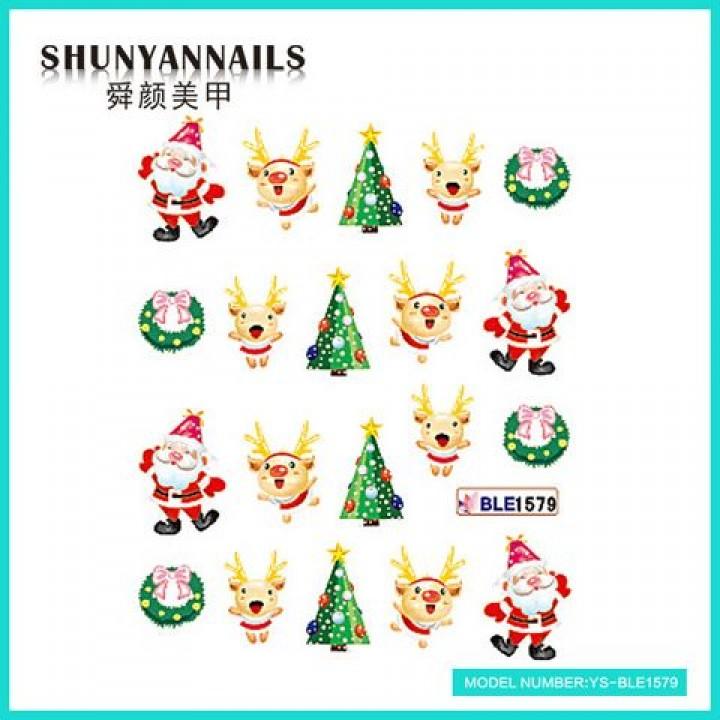 Наклейки для ногтей Новогодние, Санта Клаус, Дед мороз, елочка, олень