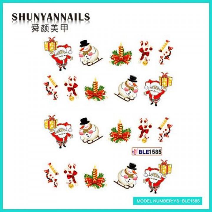 Наклейки для ногтей Новогодние, Санта Клаус, Дед мороз, снеговик, конфеты