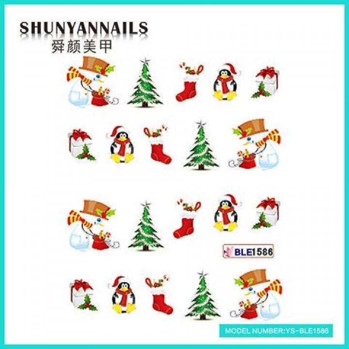 Наклейки для ногтей Новогодние, снеговик, пингвин, елка, подарок