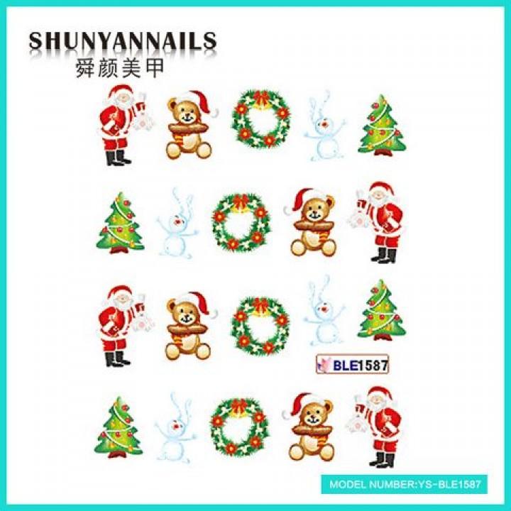 Наклейки для ногтей Новогодние, Санта Клаус, Дед мороз, мишка, зайка, елка