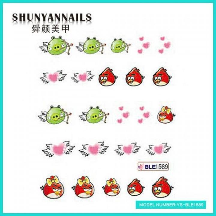Наклейки для ногтей Птицы, Angry Birds, сердечки