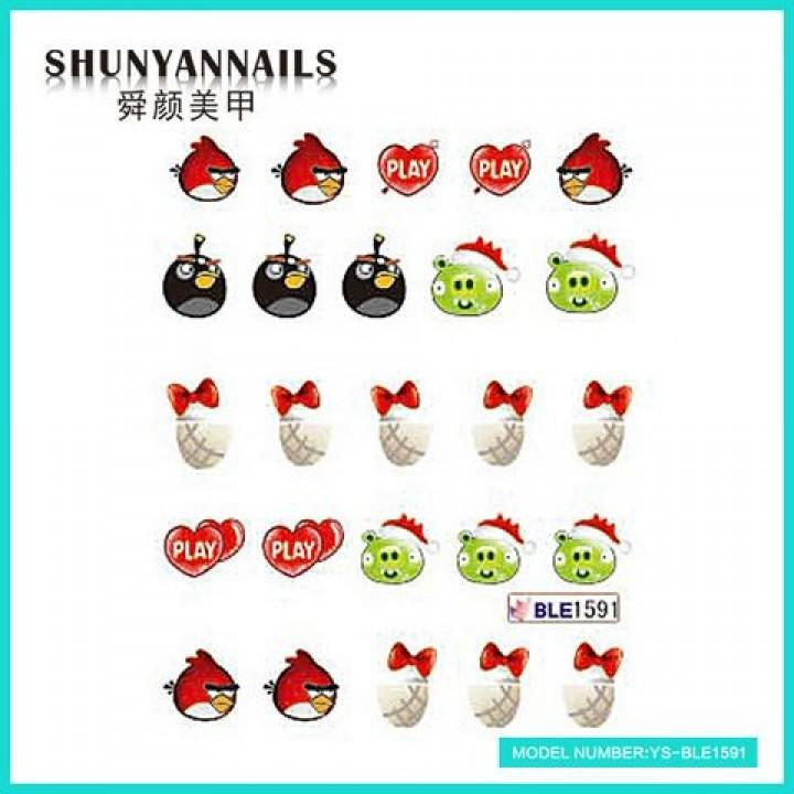 Наклейки для ногтей Птицы, Angry Birds, сердечки, бантики