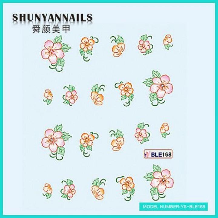 Наклейки для ногтей Оранжевые цветы, розовые цветы