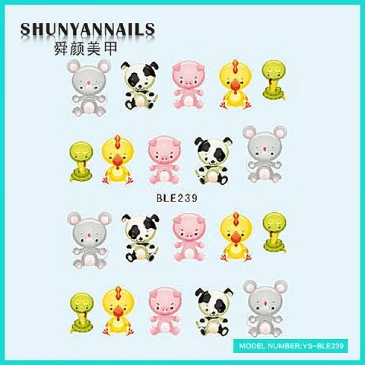 Наклейки для ногтей Животные, мышка,собачка, поросенок, цыпленок