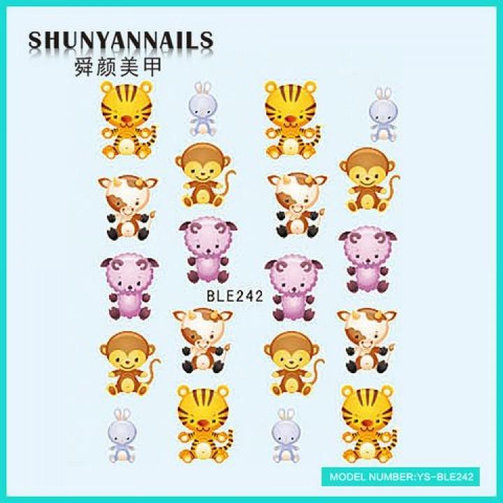 Наклейки для ногтей Животные, тигр, обезьяна, овечка