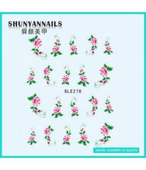 Наклейки на ногти Цветы, малиновые розы