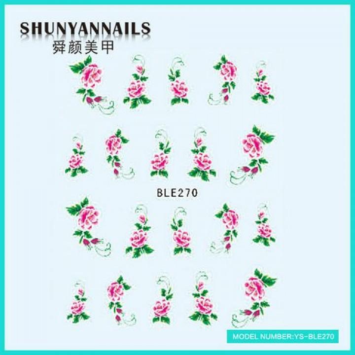 Наклейки для ногтей Цветы, малиновые розы