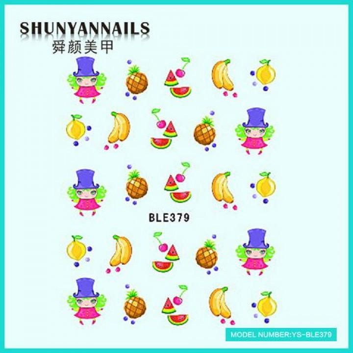 Наклейки для ногтей Фрукты, апельсин, арбуз, банан, ананас, вишенки