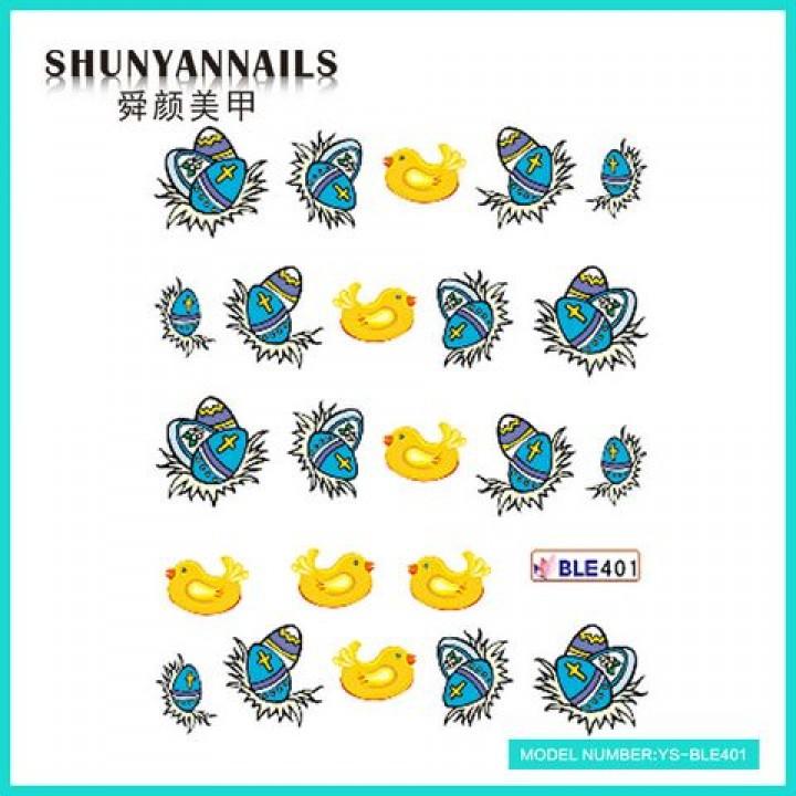 Наклейки для ногтей Пасхальные яйца, птички