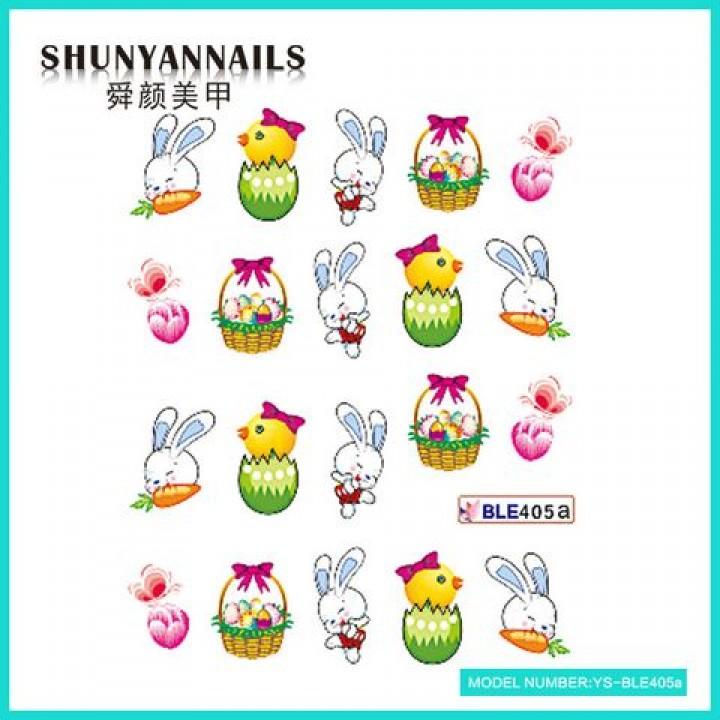 Наклейки для ногтей Пасхальные яйца, зайчик, птичка