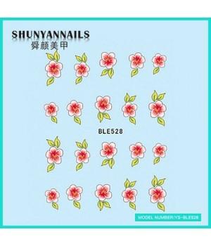 Наклейки на ногти Цветы розово-красные