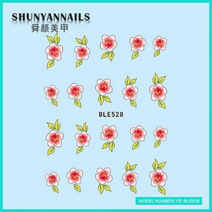 Наклейки для ногтей Цветы розово-красные