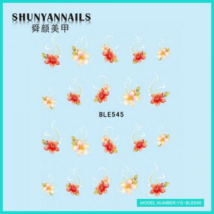 Наклейки для ногтей Цветы, лилия розовая, красная