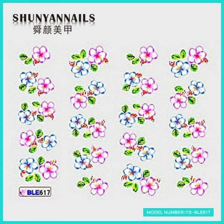 Наклейки для ногтей Малиновые и голубые цветы