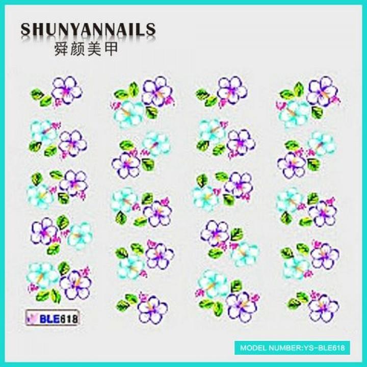 Наклейки для ногтей Фиалковые и голубые цветы