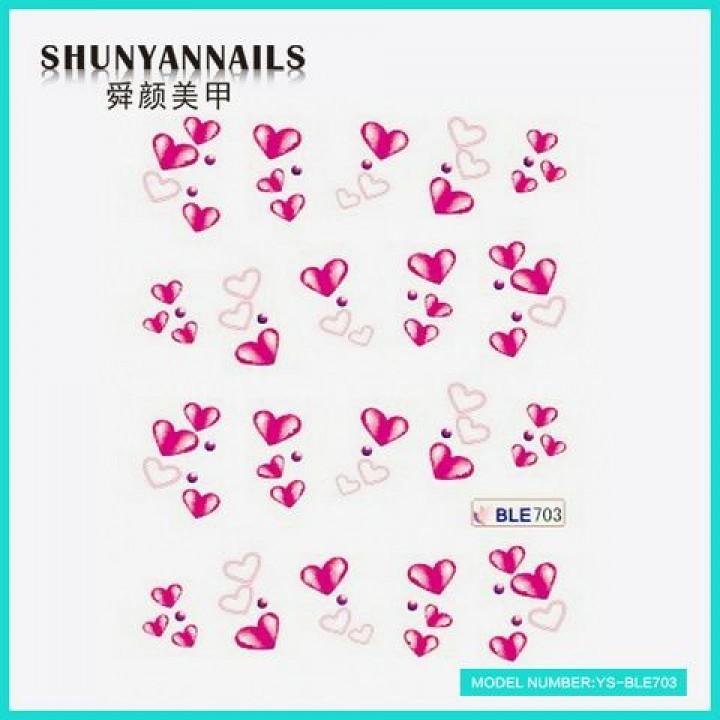 Наклейки для ногтей Малиновые сердечки