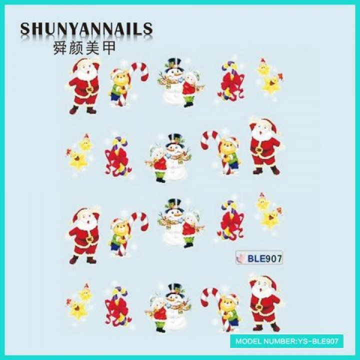 Наклейки для ногтей Новогодние, мишка, снеговик, звездочки, Дед Мороз, Санта Клаус