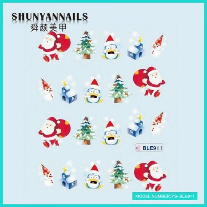 Наклейки для ногтей Новогодние, мишка, елка, пингвин, снеговик, Дед Мороз, Санта Клаус