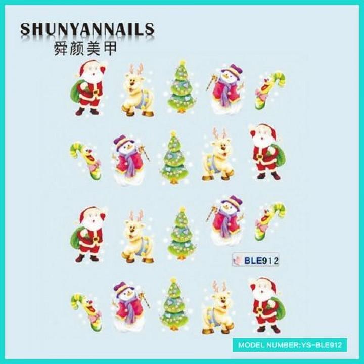 Наклейки для ногтей Новогодние, олень, елка,снеговик, Дед Мороз, Санта Клаус
