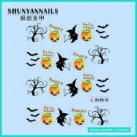 Наклейки на ногти Хэллоуин, летучая мышь, деревья