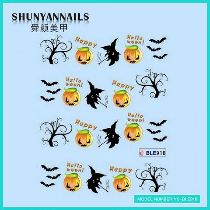 Наклейки для ногтей Хэллоуин, летучая мышь, деревья