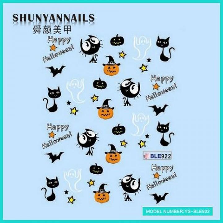 Наклейки для ногтей Хеллоуин, кошки, летучья мышь, привидения