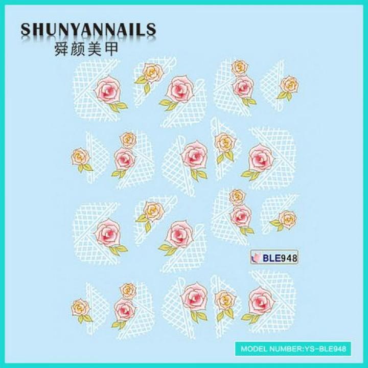 Наклейки для ногтей Розовые розы, абстракция